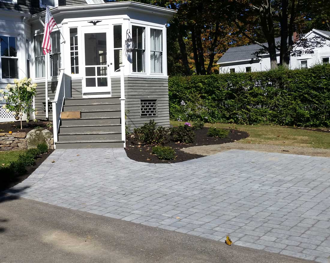 Cobblestone paved parking area