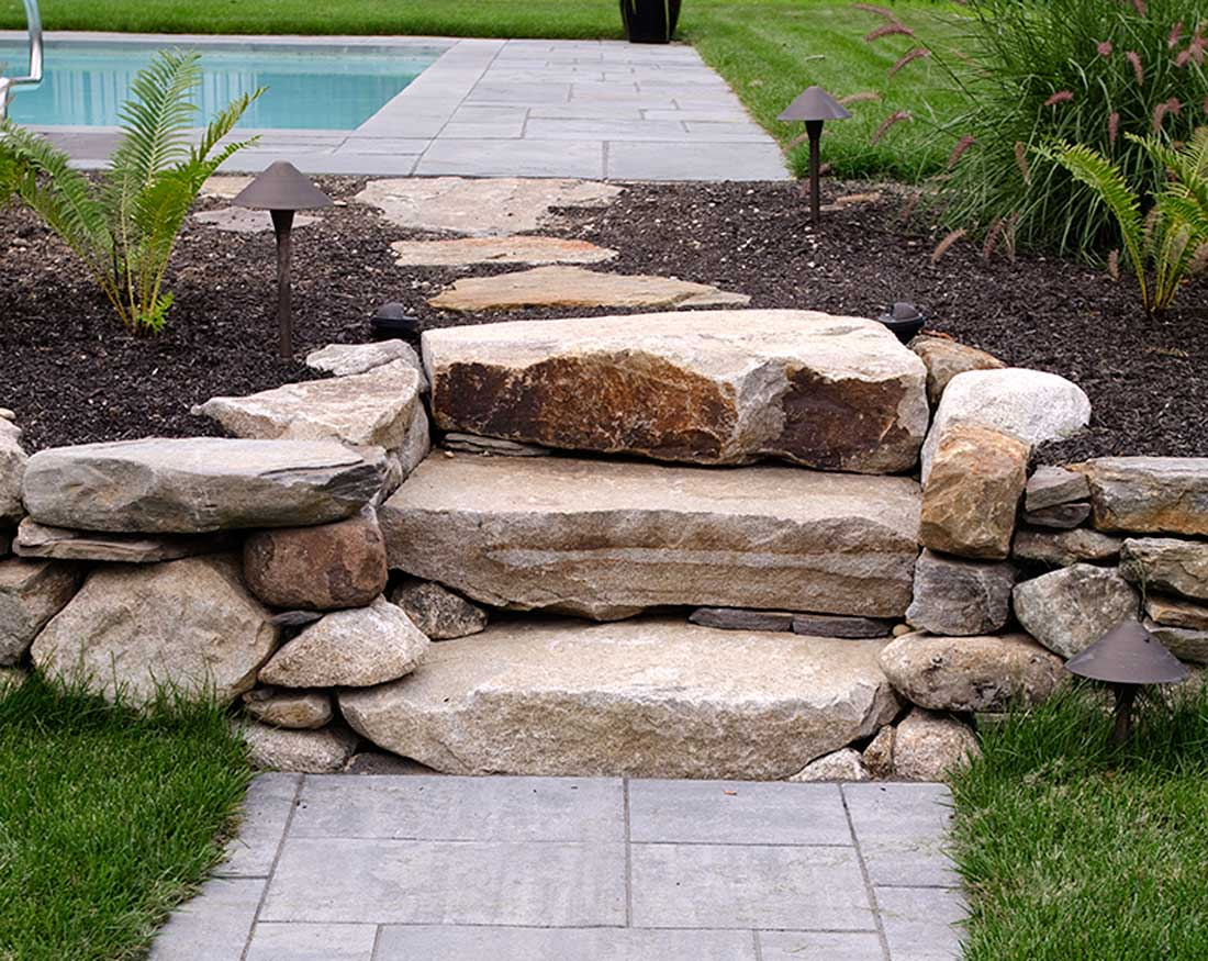 Natural stone wall and steps