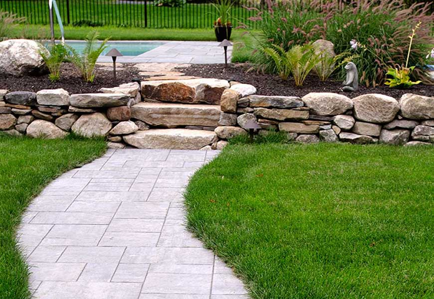Poolside landscaping in Falmouth Maine