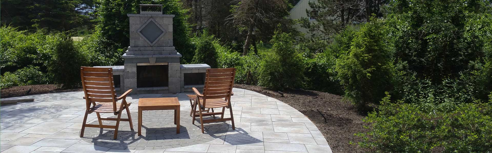 Portland Maine outdoor fireplace
